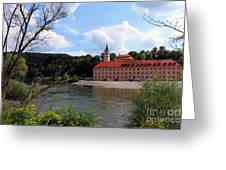 Abbey Weltenburg And Danube River Greeting Card