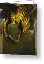 Abbott Handerson Thayer 1849 - 1921 Boy And Angel Greeting Card