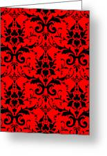 Abby Damask In Black Pattern 02-p0113 Greeting Card