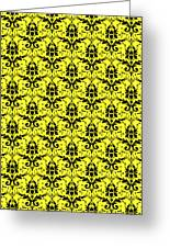 Abby Damask In Black Pattern 05-p0113 Greeting Card