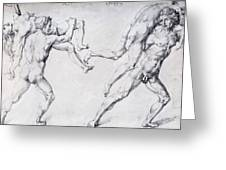 Abduction Of A Woman Rape Of The Sabine Women 1495 Greeting Card