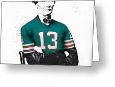 Abe Lincoln In A Dan Marino Miami Dolphins Jersey Greeting Card