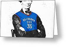Abe Lincoln In An Kevin Durant Okc Thunder Jersey Greeting Card