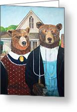 Abearican Gothic Greeting Card