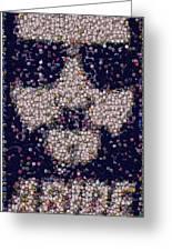Abide Bottle Cap Mosaic Greeting Card by Paul Van Scott