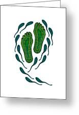 Aboriginal Footprints Green Transparent Background Greeting Card