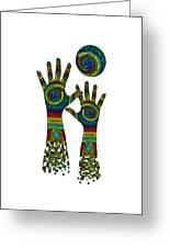 Aboriginal Hands Gold Transparent Background Greeting Card