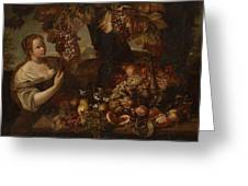Abraham Brueghel After, Girl With Grapes And Still Life With Fruit. Greeting Card