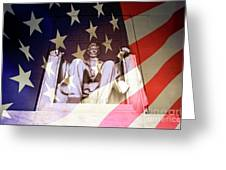 Abraham Lincoln Memorial Blended With American Flag Greeting Card