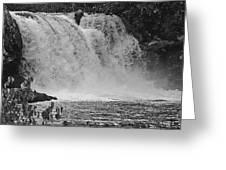 Abrams Falls Cades Cove Tn Black And White Greeting Card
