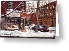 Rue De Pointe St Charles En Hiver Scenes De Rue De Montreal Peinture Originale A Vendre Paul Patates Greeting Card