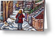 En Route Vers L'ecole Escaliers De Montreal Scenes De Ville Peintures A Vendre Greeting Card