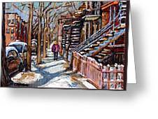 Scenes De Ville De Montreal En Hiver Original Quebec Art For Sale Montreal Street Scene Greeting Card