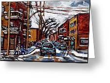 Plateau Mont Royal Scenes De Rue De Montreal En Hiver Rue Napoleon Petit Format A Vendre Greeting Card