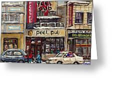 Rue Peel Montreal En Hiver Parie De Hockey De Rue Peel Pub Greeting Card