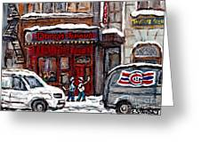 Dunn's Famous Deli Downtown Montreal Scenes De Rue Montreal Centre Ville En Hiver Joueur De Hockey Greeting Card