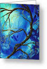 Abstract Art Asian Blossoms Original Landscape Painting Blue Veil By Madart Greeting Card