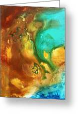Abstract Art Colorful Turquoise Rust River Of Rust I By Madart  Greeting Card
