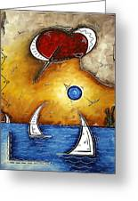 Abstract Art Contemporary Coastal Cityscape 3 Of 3 Capturing The Heart Of The City I By Madart Greeting Card
