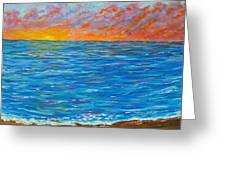 Abstract Art- Flaming Ocean Greeting Card
