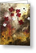 Abstract Art Original Flower Painting Floral Arrangement By Madart Greeting Card
