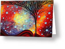 Abstract Art Whimsical Landscape Painting Morning Bliss By Madart Greeting Card by Megan Duncanson