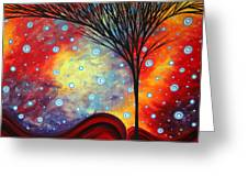 Abstract Art Whimsical Landscape Painting Morning Bliss By Madart Greeting Card