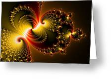 Abstract Art Yellow Golden Red Metal Effect Greeting Card