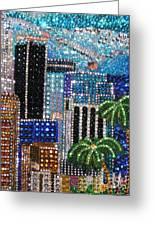 Los Angeles. Rhinestone Mosaic With Beadwork Greeting Card