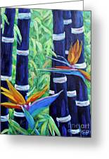 Abstract Bamboo And Birds Of Paradise 04 Greeting Card