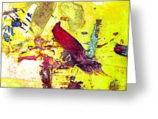 Abstract Bird On Yellow Greeting Card