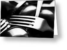 Abstract Black And White Photo Of Mixed Silver Forks Greeting Card