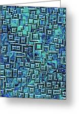 Abstract Blue And Green Pattern Greeting Card