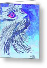 Abstract Blue Cat Greeting Card
