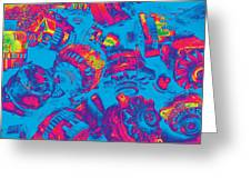 Abstract Blue-red Multi Colors Junk Greeting Card