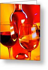 Abstract Bottle Of Wine And Glasses Of Red And White Greeting Card by Elaine Plesser