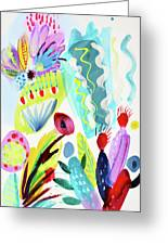 Abstract Cactus And Flowers Greeting Card