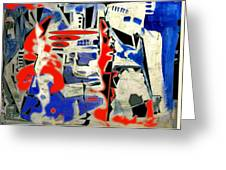 Abstract Cafe I Greeting Card by Therese AbouNader