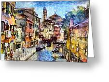Abstract Canal Scene In Venice L B Greeting Card
