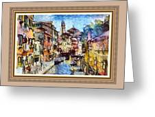 Abstract Canal Scene In Venice L A S With Decorative Ornate Printed Frame. Greeting Card