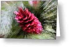 Abstract Christmas Card - Red Pine Cone Blast Greeting Card