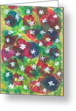 Abstract Circles With Flowers Greeting Card