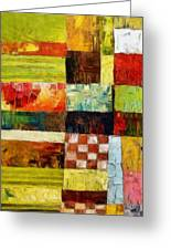 Abstract Color Study With Checkerboard And Stripes Greeting Card
