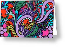 Abstract Colorful Floral Design Greeting Card