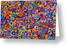 Abstract Colorful Flowers 4 Greeting Card