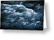 Abstract Dark Waves On The River Greeting Card