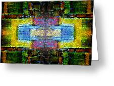 Abstract Digital Shapes Colourful Stained Glass Texture Greeting Card
