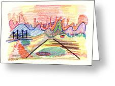 Abstract Drawing Five Greeting Card