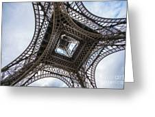 Abstract Eiffel Tower Looking Up 2 Greeting Card