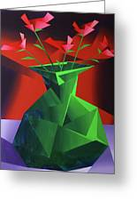 Abstract Flower Vase Prism Acrylic Painting Greeting Card by Mark Webster